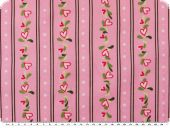 Cotton print,  hearts and flowers, pink-multicolour, 140cm