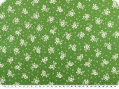 Cotton print,  flowers, green-white, 140cm