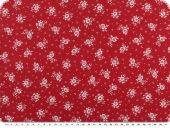 Cotton print,  flowers, red-white, 140cm
