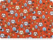 Children fabric, owls, cotton, multicolour, 140cm