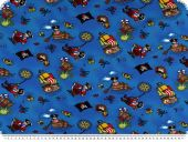 Cotton jersey for children, pirates, multicolour, 155cm