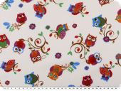 Children fabric, cotton, owls, ecru-multicolour, 140cm