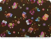 Children fabric, cotton, owls, brown-multicolour, 140cm