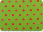 Cotton print with stars, pink on green, 140cm