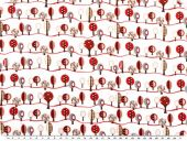 Children fabric, cotton, trees, white-multicolour, 140cm