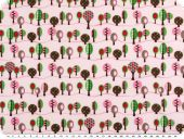 Children fabric, cotton, trees, pink-multicolour, 140cm