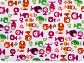 Children fabric, cotton, fishes, white-multicolour, 140cm
