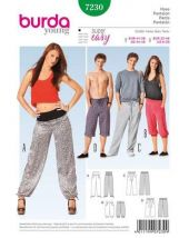 Burda pattern, casual trousers for her and him, size 32-46