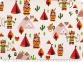 Children fabric, cotton, indians, ecru multicolour, 140cm