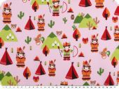Children fabric, cotton, indians, pink multicolour, 140cm