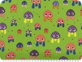 Children fabric, cotton, funny aquatic animals, green, 140cm