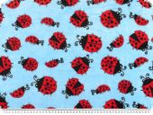 Superfleece, ladybugs, blue-multicoloured, 150cm