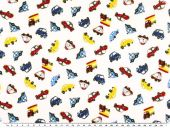 Children fabric, vehicles, ecru, 140cm