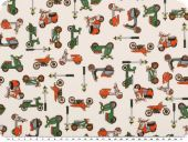 Nice cotton print, vehicles, ecru-multicolour, 140cm