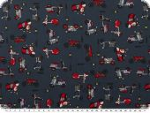 Nice cotton print, vehicles, dark blue-multicolour, 140cm