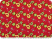 Cotton jersey, children fabric,  birds, cherry red, 150cm