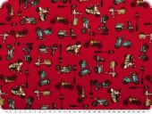 Children fabric, scooter, roughened cotton, red,   140cm