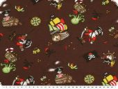 Nice fabric for sweatshirts, pirates, chestnut, 145cm