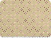 Cotton-Jersey, flowers-stars, beige-red, 150cm