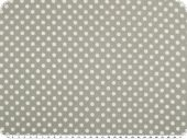 Cotton print, dots, ecru on light grey, 140cm