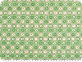 Cotton jersey, circles, light green-rose, 150cm