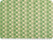 Cotton print, dots and circles on light green, 140cm