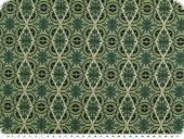 Cotton print, flowers and geometry, green, 140cm