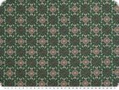 Cotton print, flowers , dark green- light green, 140cm