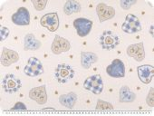 Leftover, Cotton poplin, hearts, white-brown-blue, 145x270cm