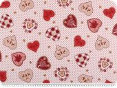 Cotton poplin, hearts, white-red-brown, 145cm