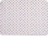 Cotton poplin, flowers, light blue-brown-blue, 145cm