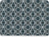 Cotton flannel, rhombus and flowers, blue-grey, 140cm