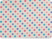 Cotton print, flowers, white-multicolour, 140cm