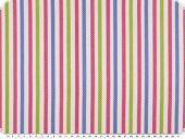 Cotton print, stripes, white-apple green-multicolour, 140cm