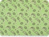 Cotton jersey, paisley, pale green, 150cm