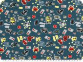 Cotton jersey, cars, blue-red, 150cm