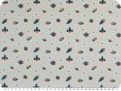 Cotton jersey, spaceships, light grey-blue, 150cm