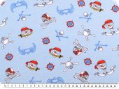 Cotton jersey, pirates motifs, light blue-red, 150cm