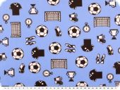 Cotton print, flowers, football, light blue, 140cm