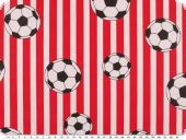 Cotton print, footbal and stripes, red and black, 140cm