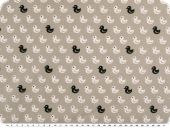 Cotton print, ducks, light grey-white-black, 145cm