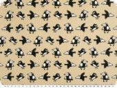 Cotton print, cheeky crows, beige-black, 145cm