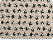 Cotton print, cheeky crows, light grey-black, 145cm