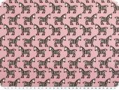 Cotton print, zebras, rose pink-black-white, 145cm
