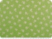 Cotton print, flowers, light green-white, 145cm