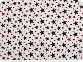 Cotton print, stars, white-black-red, 155cm