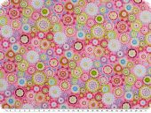 Cotton print, flowers, pink-multicolour, 155cm