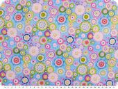 Cotton print, flowers, hellblau-multicolour, 155cm