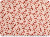 Cotton print, red flowers, red-ecru, 155cm