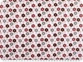 Cotton print, flowers, white-multicolour, 155cm